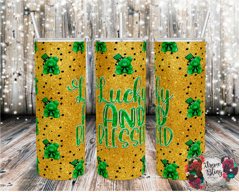 Irish and Blessed Ready To Press Sublimation Print for 20oz Straight Skinny Tumbler or 20oz Tapered Skinny Tumbler