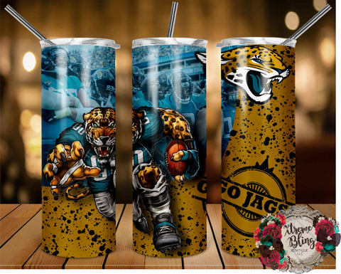 Jacksonville Jaguars (C) Ready To Press Sublimation Print for 20oz Straight Skinny Tumbler or 20oz Tapered Skinny Tumbler (W)
