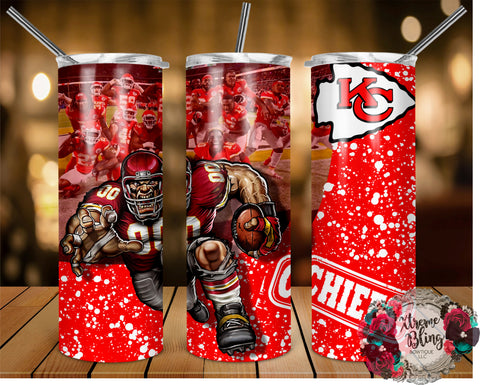 Kansas City Chiefs (C) Ready To Press Sublimation Print for 20oz Straight Skinny Tumbler or 20oz Tapered Skinny Tumbler (W)