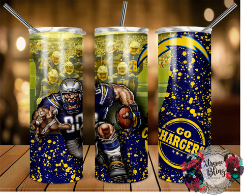 Los Angeles Chargers (C) Ready To Press Sublimation Print for 20oz Straight Skinny Tumbler or 20oz Tapered Skinny Tumbler (W)