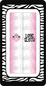Love Sloth Ready to Press Sublimation Bow Strips