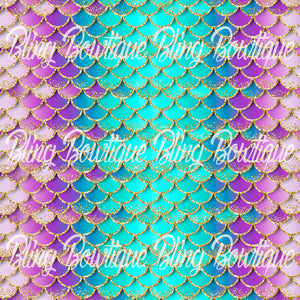Mermaid Scales 20 Printed Glitter Canvas, Regular Canvas, Faux Leather For Bows