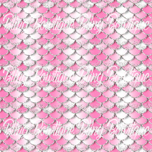 Mermaid Scales 4 Printed Glitter Canvas, Regular Canvas, Faux Leather For Bows