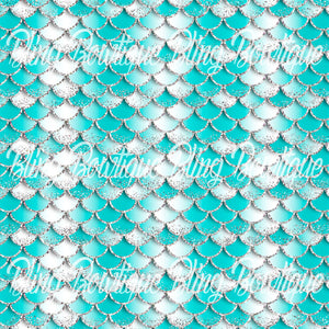 Mermaid Scales 5 Printed Glitter Canvas, Regular Canvas, Faux Leather For Bows