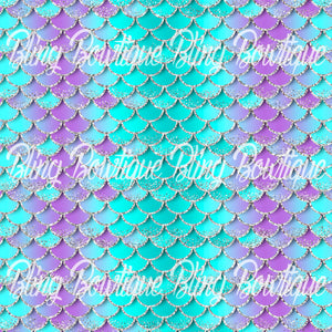 Mermaid Scales 7 Printed Glitter Canvas, Regular Canvas, Faux Leather For Bows