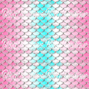 Mermaid Scales 8 Printed Glitter Canvas, Regular Canvas, Faux Leather For Bows