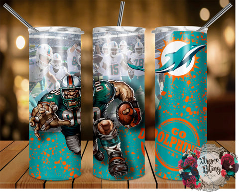 Miami Dolphins (C) Ready To Press Sublimation Print for 20oz Straight Skinny Tumbler or 20oz Tapered Skinny Tumbler (W)