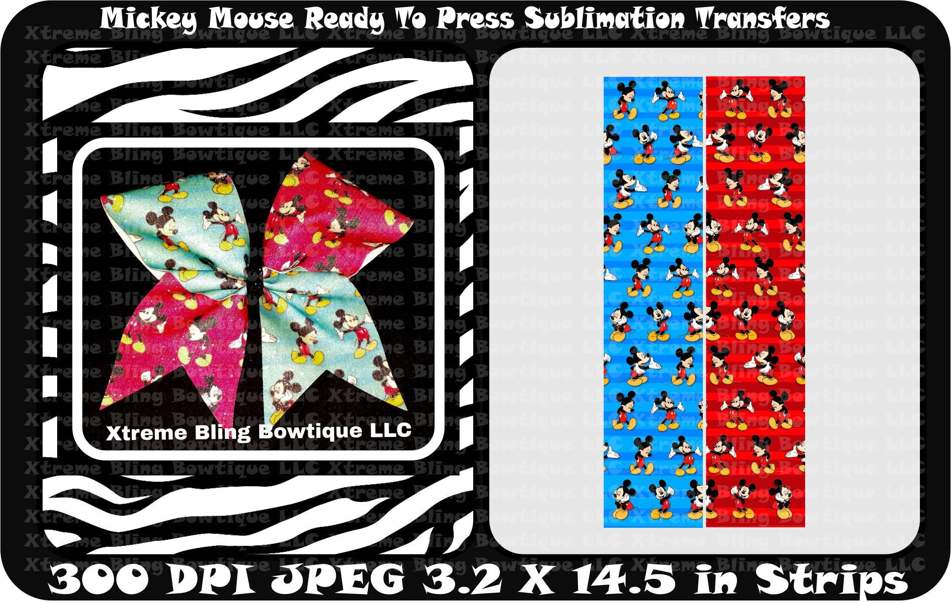 Mickey Mouse Ready to Press Sublimation Bow Strips