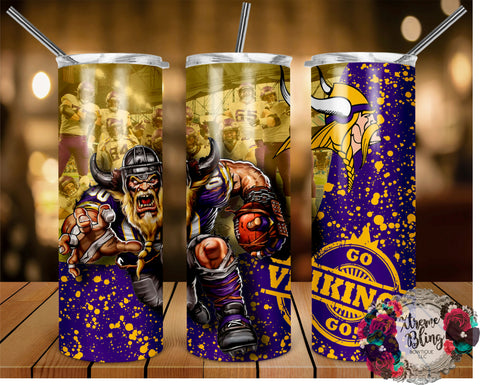 Minnesota Vikings (C) Ready To Press Sublimation Print for 20oz Straight Skinny Tumbler or 20oz Tapered Skinny Tumbler (W)