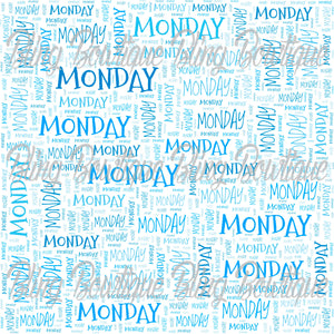 Monday Collage Printed Glitter Canvas, Regular Canvas, Faux Leather For Bows