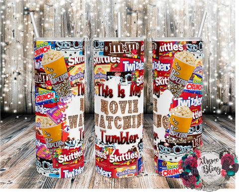 Movie Watching Tumbler Candy Version Ready To Press Sublimation Print for 20oz Straight Skinny Tumbler or 20oz Tapered Skinny Tumbler