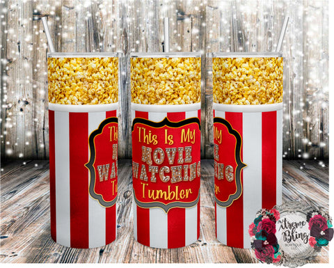 Movie Watching Tumbler Popcorn Version Ready To Press Sublimation Print for 20oz Straight Skinny Tumbler or 20oz Tapered Skinny Tumbler