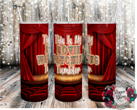 Movie Watching Tumbler Theatre Version Ready To Press Sublimation Print for 20oz Straight Skinny Tumbler or 20oz Tapered Skinny Tumbler