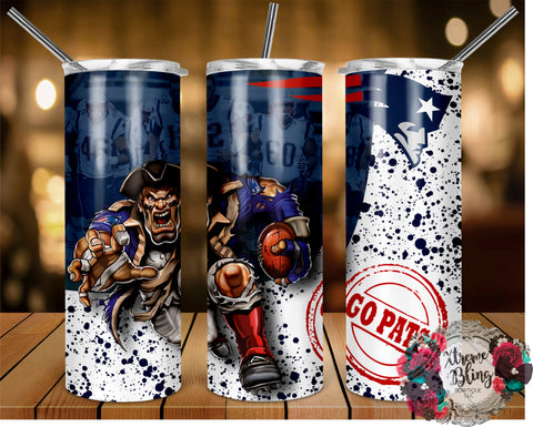 New England Patriots (C) Ready To Press Sublimation Print for 20oz Straight Skinny Tumbler or 20oz Tapered Skinny Tumbler (W)