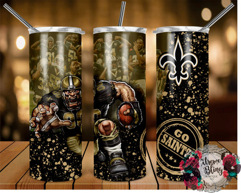 New Orleans Saints (C) Ready To Press Sublimation Print for 20oz Straight Skinny Tumbler or 20oz Tapered Skinny Tumbler (W)