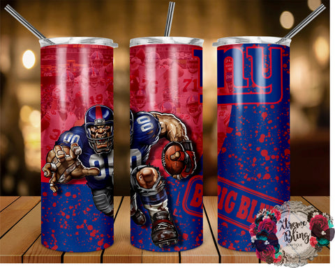 New York Giants (C) Ready To Press Sublimation Print for 20oz Straight Skinny Tumbler or 20oz Tapered Skinny Tumbler (W)