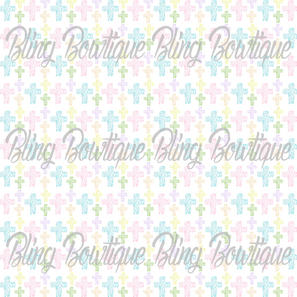 Easter Crosses (Pastel) Glitter Canvas, Regular Canvas, Faux Leather For Bows