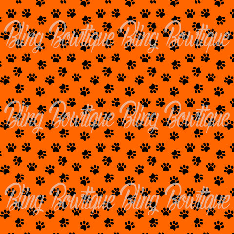 Pawprints Black on Orange Background Printed Glitter Canvas, Regular Canvas, Faux Leather For Bows