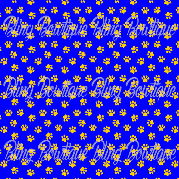 Pawprints Gold on Royal Blue Background Printed Glitter Canvas, Regular Canvas, Faux Leather For Bows