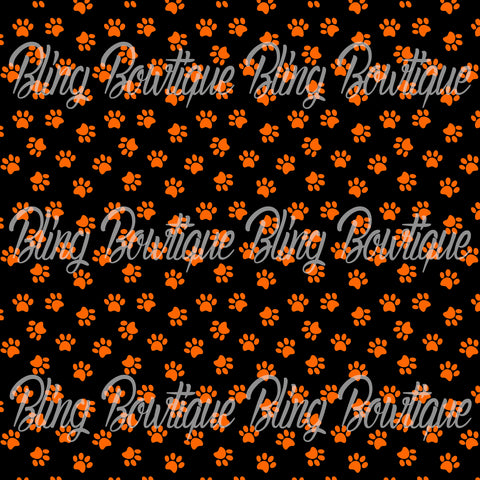 Pawprints Orange on Black Background Printed Glitter Canvas, Regular Canvas, Faux Leather For Bows