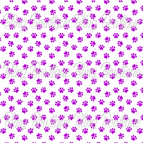 Pawprints Purple on White Background Printed Glitter Canvas, Regular Canvas, Faux Leather For Bows