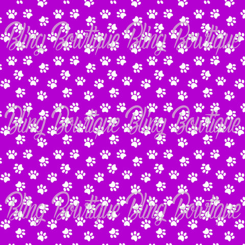 Pawprints White on Purple Background Printed Glitter Canvas, Regular Canvas, Faux Leather For Bows
