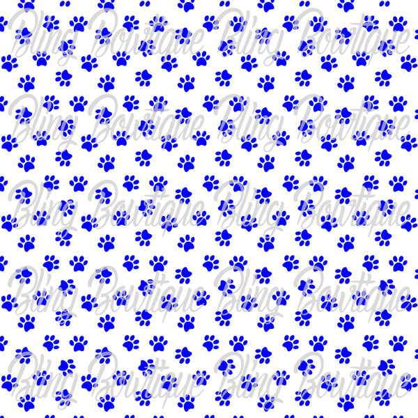 Pawprints Royal on White Glitter Canvas, Regular Canvas, Faux Leather