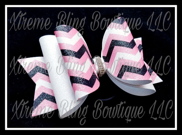 Pink Black White Chevron Glitter Canvas, Regular Canvas, Faux Leather