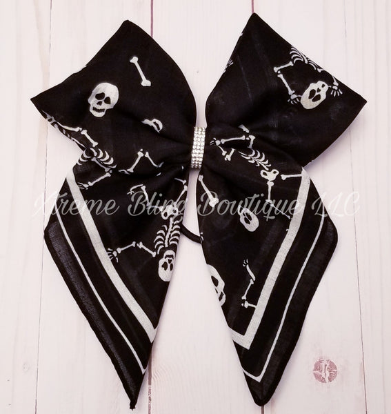 Bandana Hair Bow Skeletons