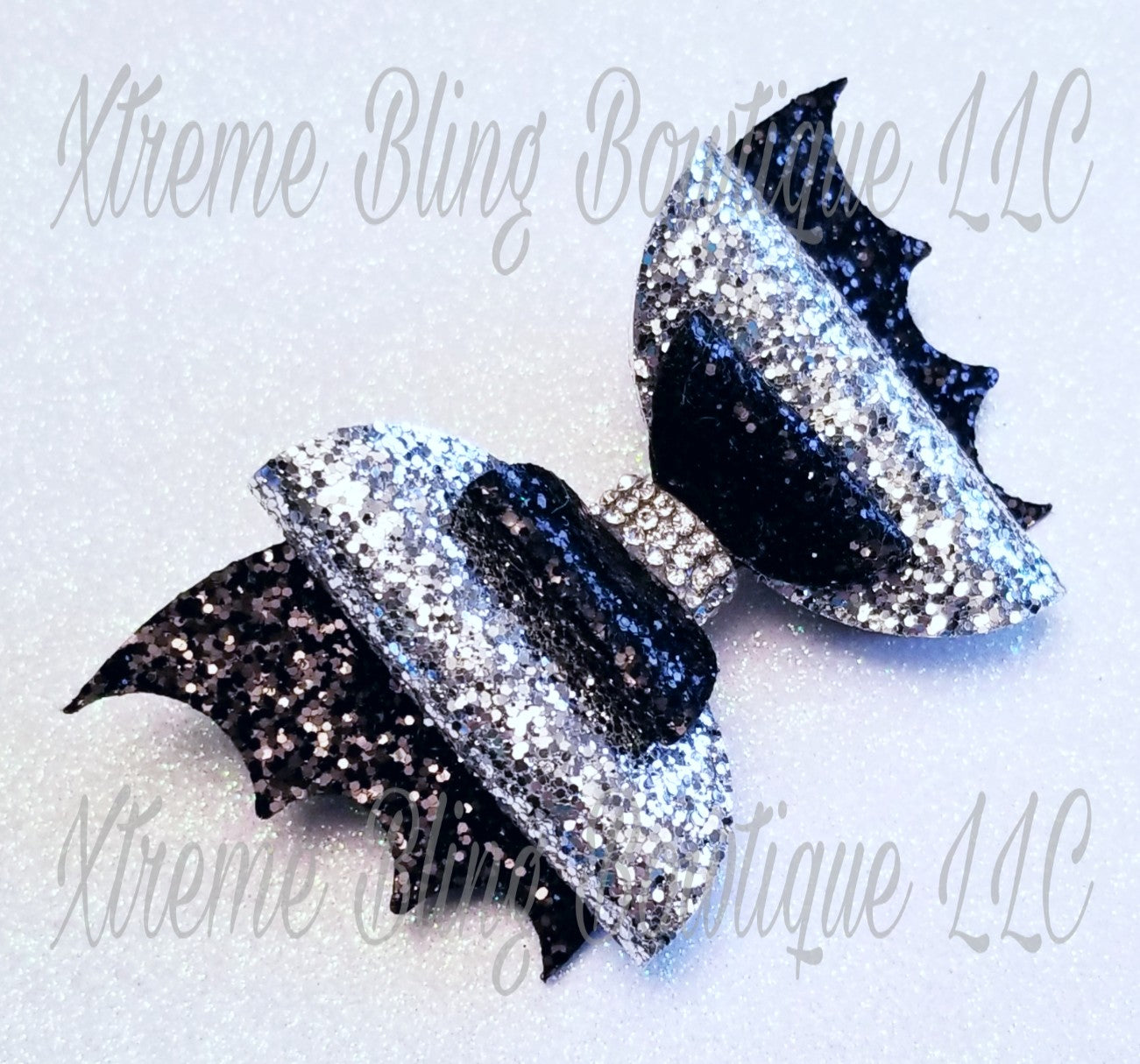 Halloween Bat Hair Bow Black and Silver