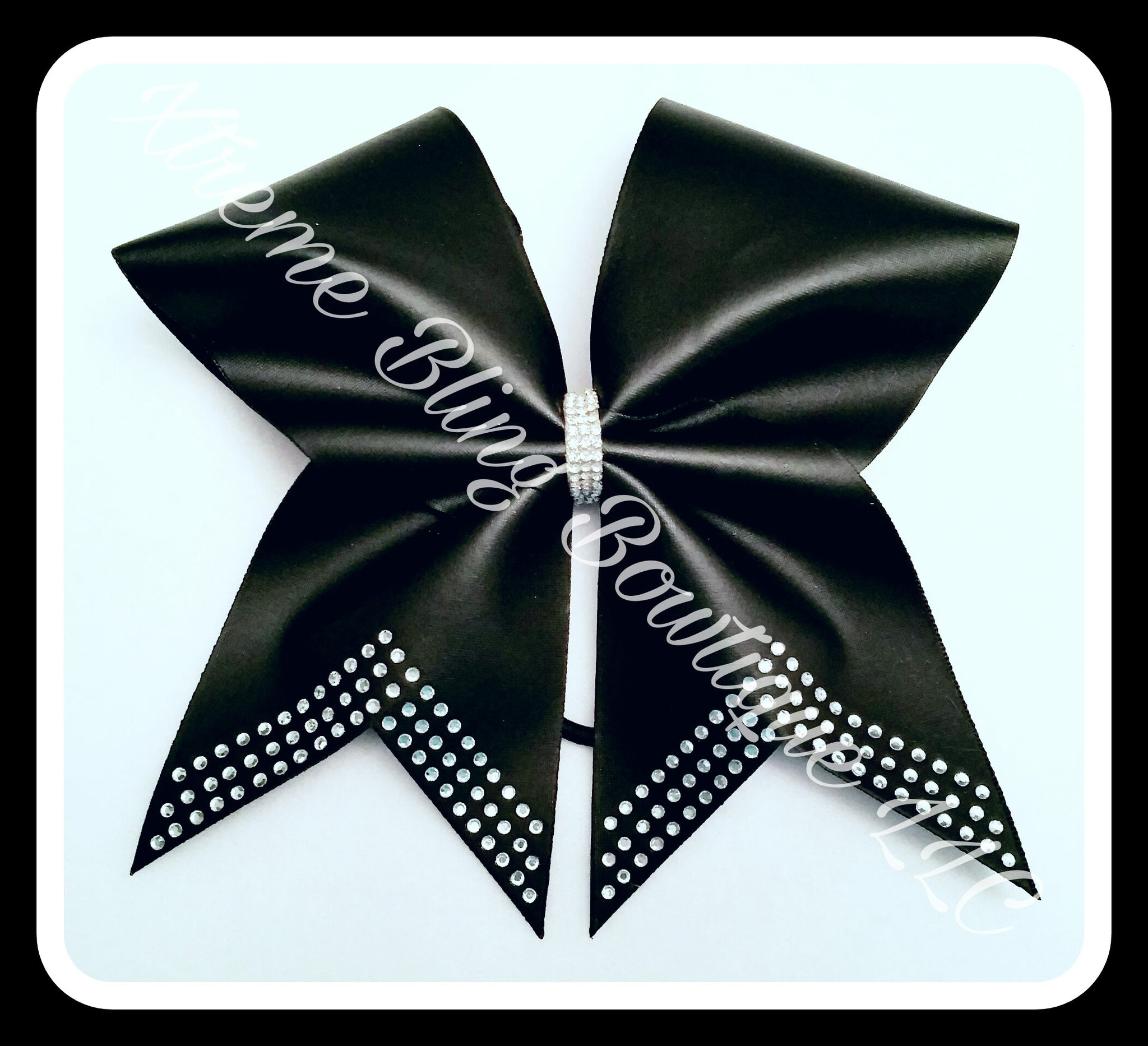 Cheer Bow- Black Matte  Rhinestone Cheer Bow