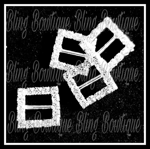 Rhinestone Square Buckle Slide Bow Center