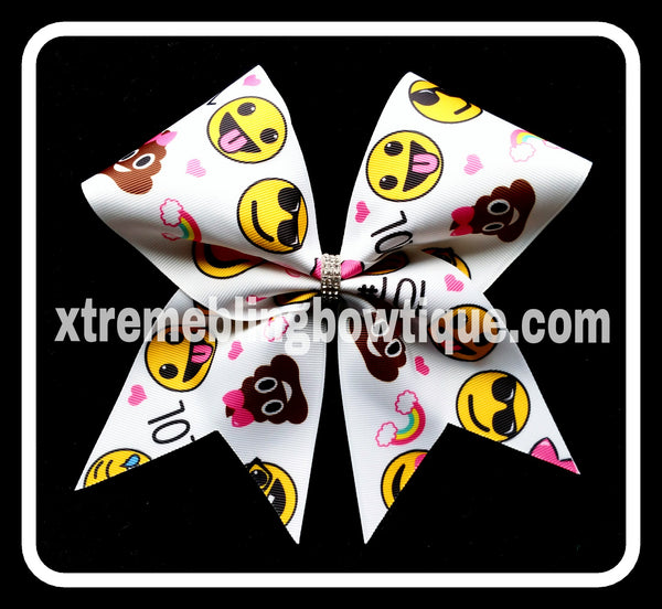 Cheer Bow- Emoji Cheer Bow