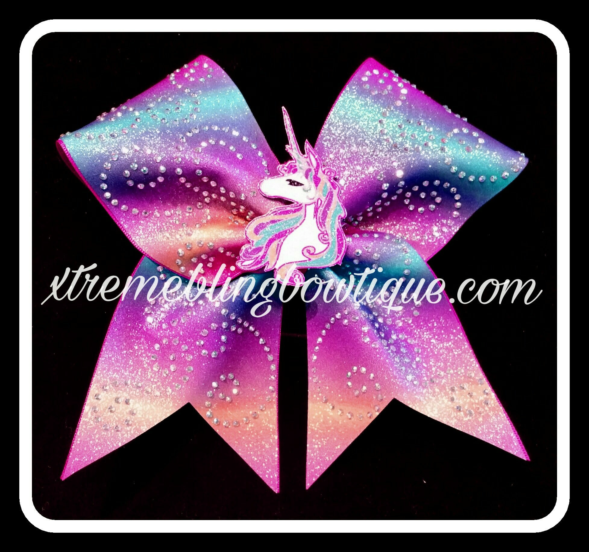 Cheer Bow--Unicorn With 3D Center