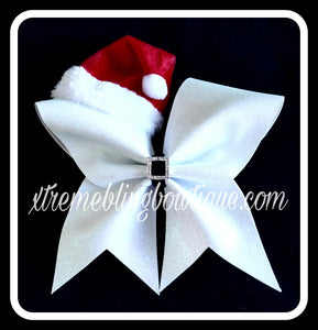 Cheer Bow --White Santa With Hat