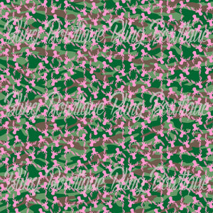 Pink Buck Silhouette Camo Glitter Canvas, Regular Canvas, Faux Leather For Bows