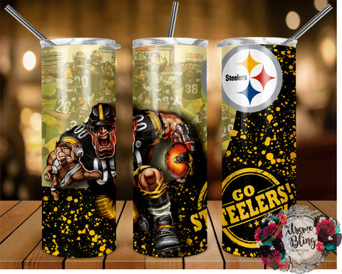 Pittsburgh Steelers (C) Ready To Press Sublimation Print for 20oz Straight Skinny Tumbler or 20oz Tapered Skinny Tumbler (W)