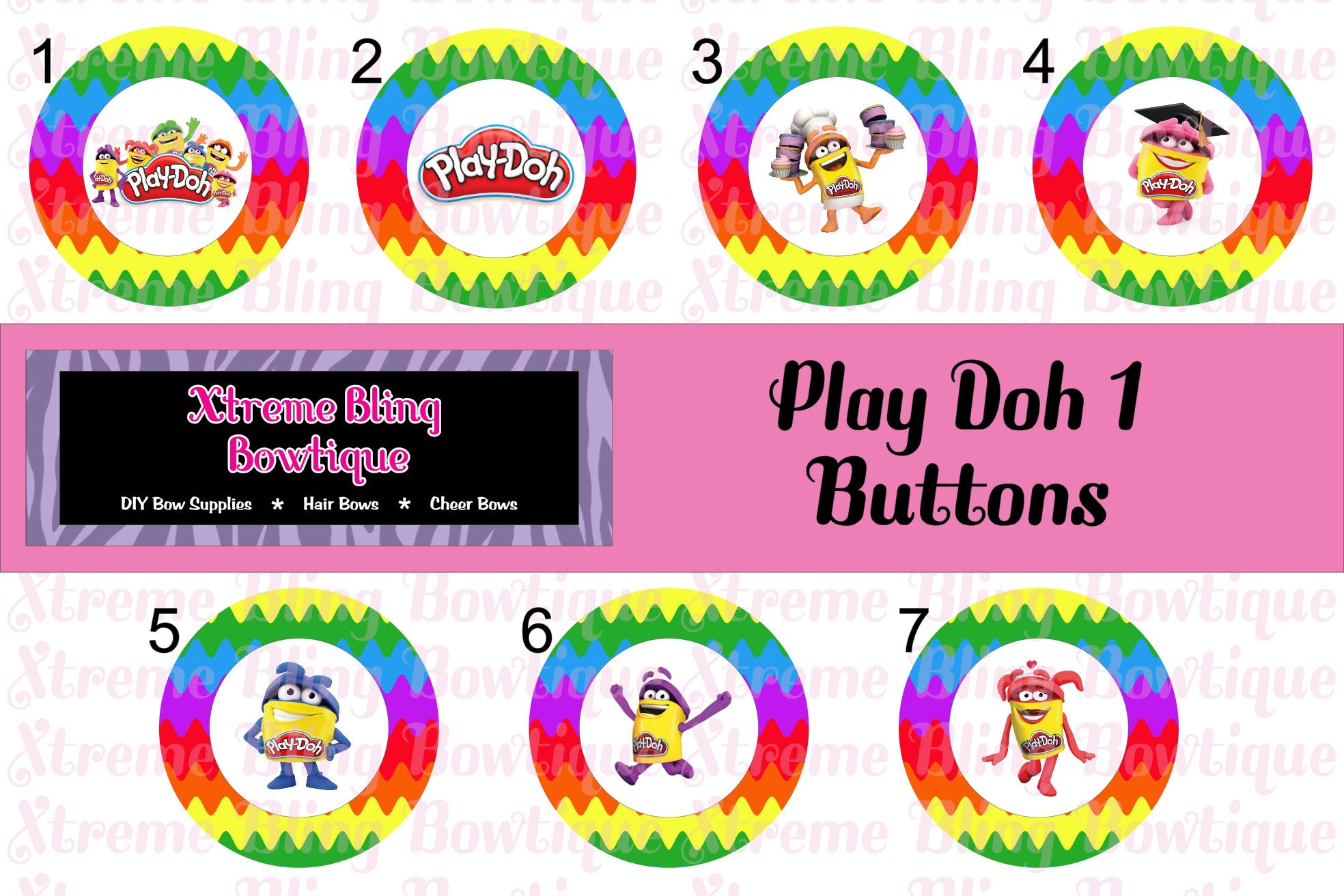 Play-Doh 1 Button Flat Back, Pin Back, Magnet or Bottle Cap