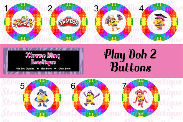 Play-Doh 2 Button Flat Back, Pin Back, Magnet or Bottle Cap