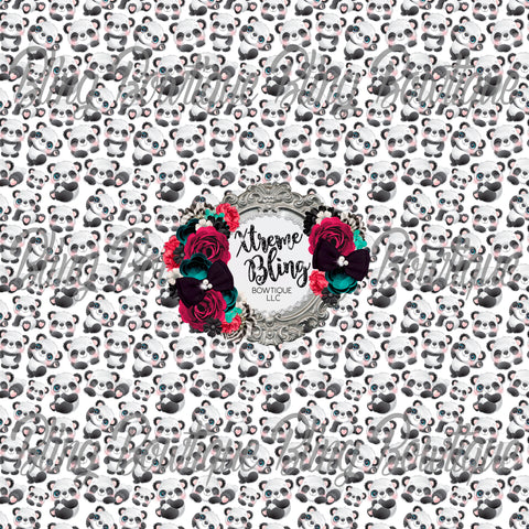 Playful Pandas Glitter Canvas, Regular Canvas, Faux Leather For Bows
