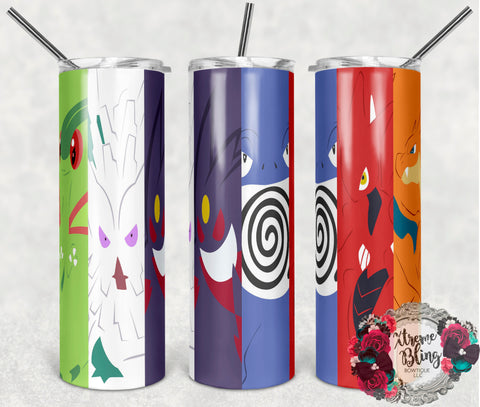 Pokemon Go 13 Ready To Press Sublimation Print for 20oz Straight Skinny Tumbler
