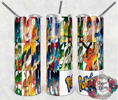 Pokemon Go 14 Ready To Press Sublimation Print for 20oz Straight Skinny Tumbler