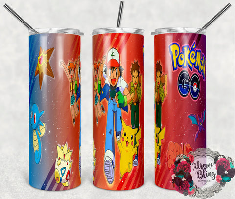 Pokemon Go 16 Ready To Press Sublimation Print for 20oz Straight Skinny Tumbler