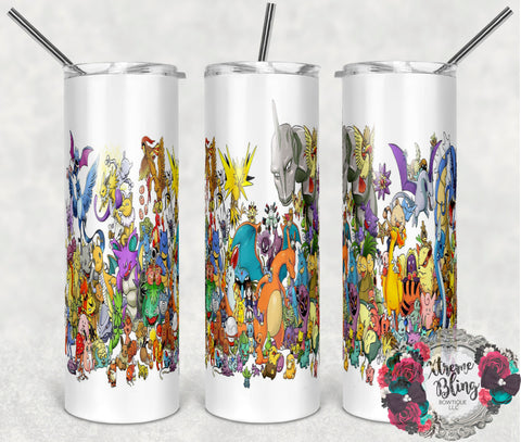 Pokemon Go 6 Ready To Press Sublimation Print for 20oz Straight Skinny Tumbler