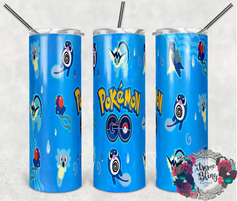 Pokemon Go 7 Ready To Press Sublimation Print for 20oz Straight Skinny Tumbler