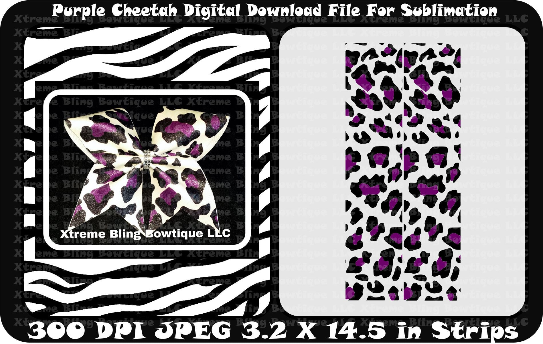Purple Cheetah Cheer Bow Sublimation Strips Download File