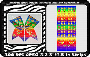 Rainbow Emoji Sublimation Cheer Bow Strips Download