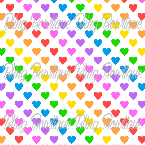 Rainbow Hearts Glitter Canvas, Regular Canvas, Faux Leather For Bows