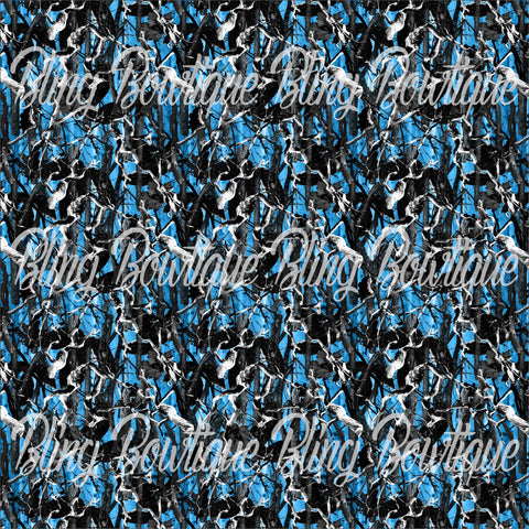 Realtree Camo Blue Glitter Canvas, Regular Canvas, Faux Leather For Bows