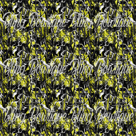 Realtree Camo Yellow Green Glitter Canvas, Regular Canvas, Faux Leather For Bows